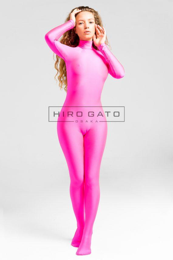 Zentai Catsuit Lycra Pink Shiny Spandex Bodysuit Hot Pink