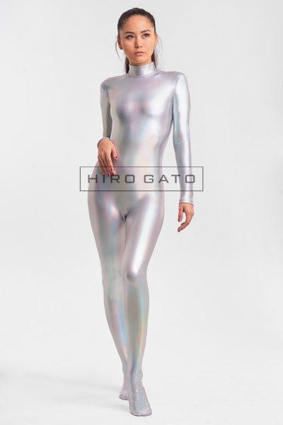 ホログラム メタリック 全身タイツ 銀色