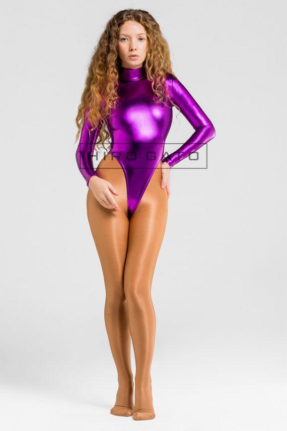 モノクロ メタリックハイレグレオタード 紫の
