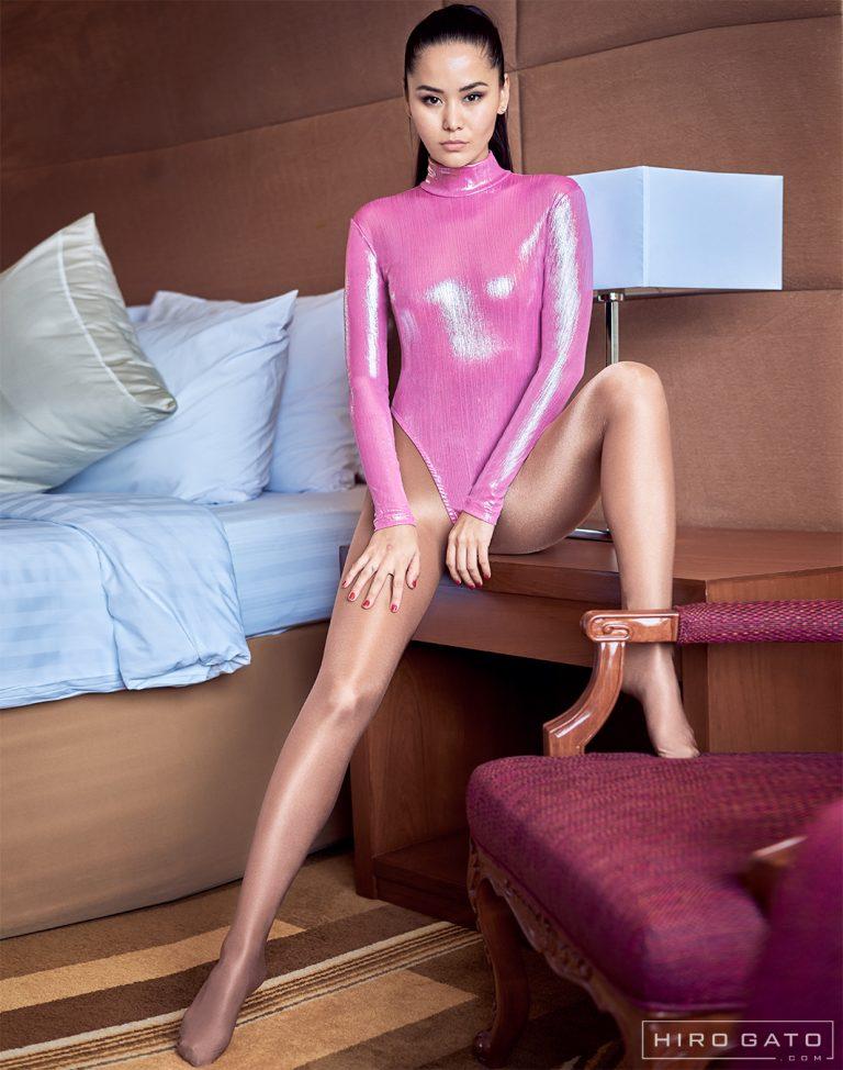 Shiny Metallic High Leg Leotard Spandex