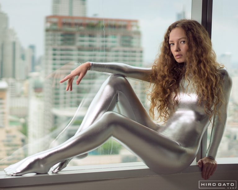 Silver Shiny Metallic Zentai Catsuit