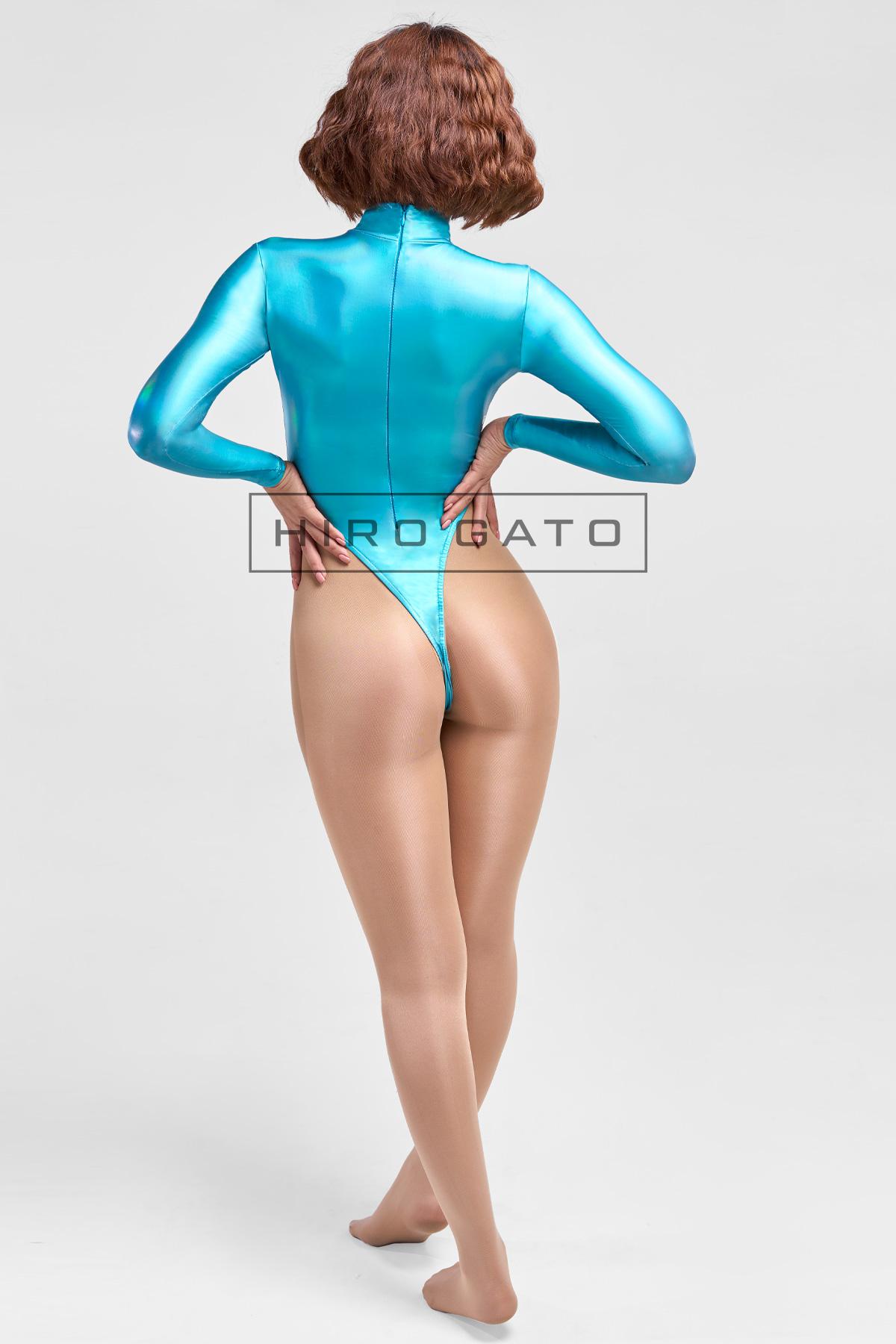 Shiny Metallic Hologram Leotard Skyblue High Leg Spandex Lycra Body Swimsuit