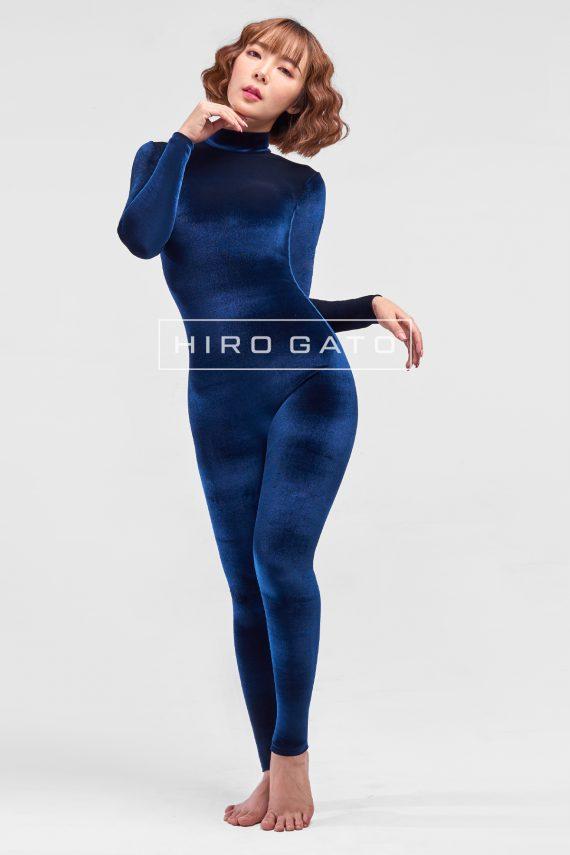 Velvet Spandex Catsuit Navy Blue Zentai Spandex Bodysuit