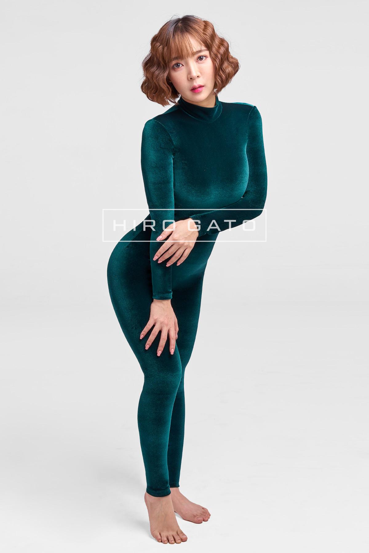 Velvet Spandex Catsuit Green