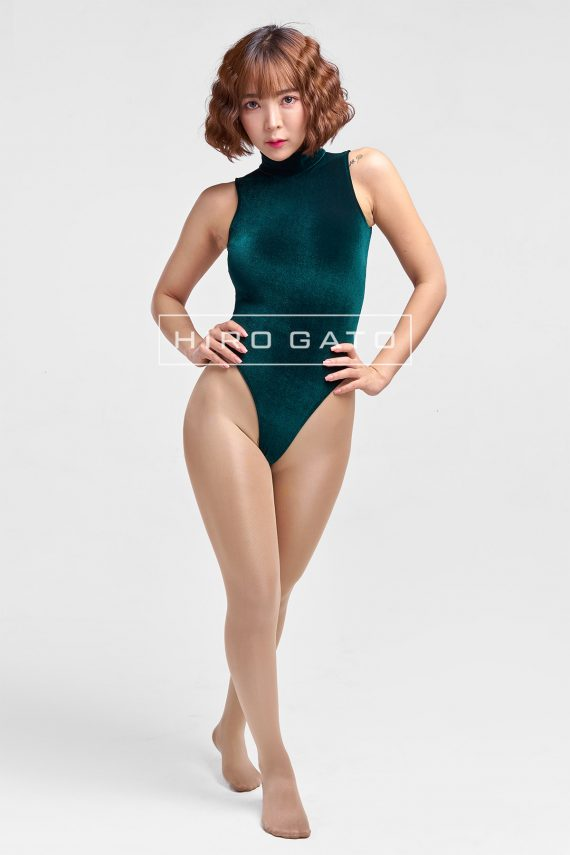 Shiny Velvet Leotard Green High Leg Spandex Lycra Body Swimsuit