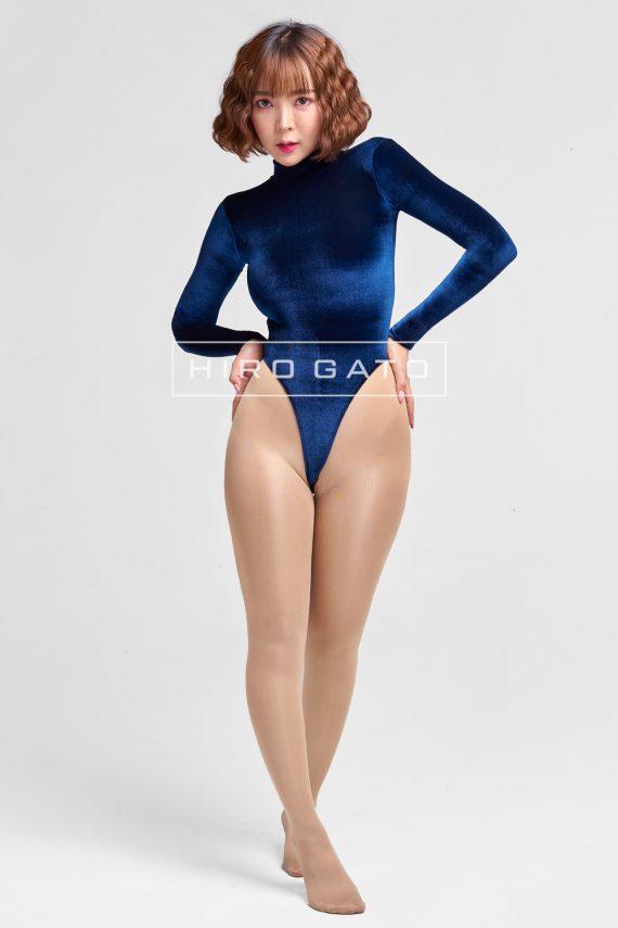 Shiny Velvet Leotard Navy Blue High Leg Spandex Lycra Body Swimsuit