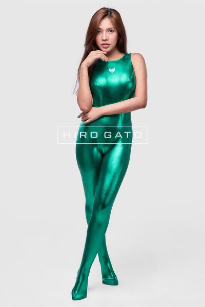 Metallic Spandex Unitard Green
