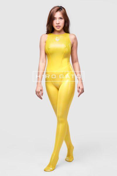 Metallic Lycra Unitard Yellow