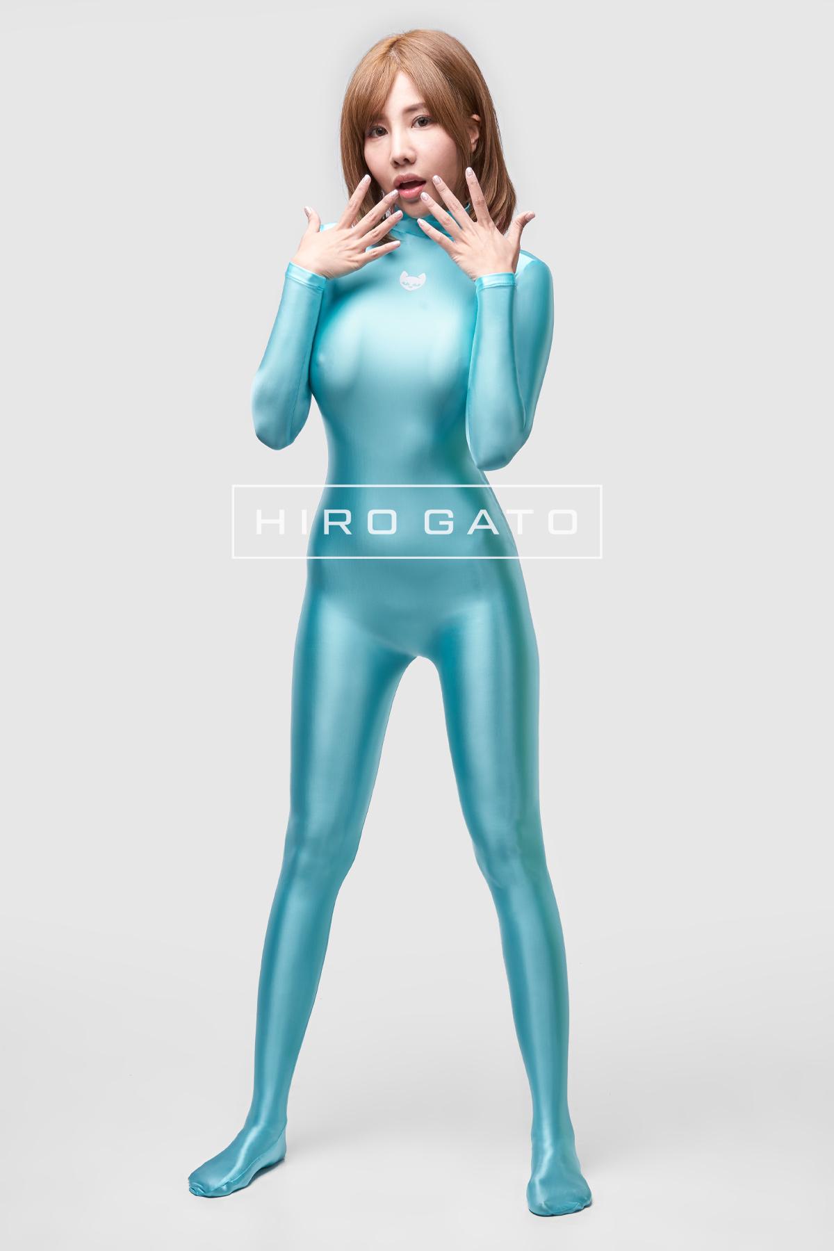 Satin Spandex Catsuit Turquoise