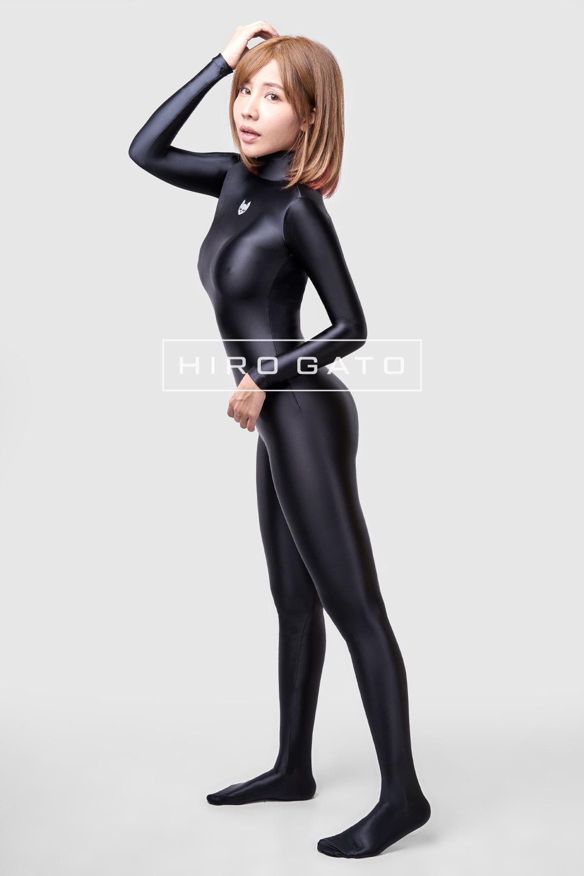 Satin Spandex Catsuit Black